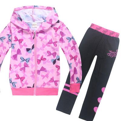 889a55909e Kids Girls Jojo Siwa Hooded Jackets Tracksuits Teenage Sports Suits ...