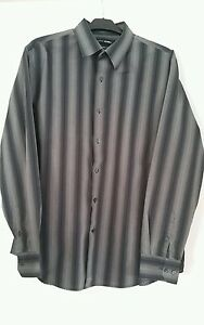 Mens-Black-Gray-Stripe-Long-Sleeve-Dress-Shirt
