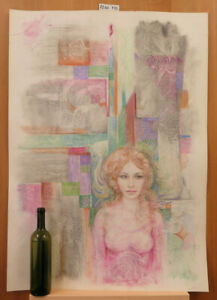 Akt Weiblich Auf Hintergrund Abstrakt Malerei Vintage Oper Maler Pancaldi P35