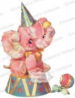 Vintage Image Shabby Retro Circus Elephant Waterslide Decals An577