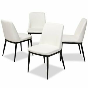 Fabulous Details About Baxton Studio Darcell Faux Leather Dining Chair In White Set Of 4 Ibusinesslaw Wood Chair Design Ideas Ibusinesslaworg
