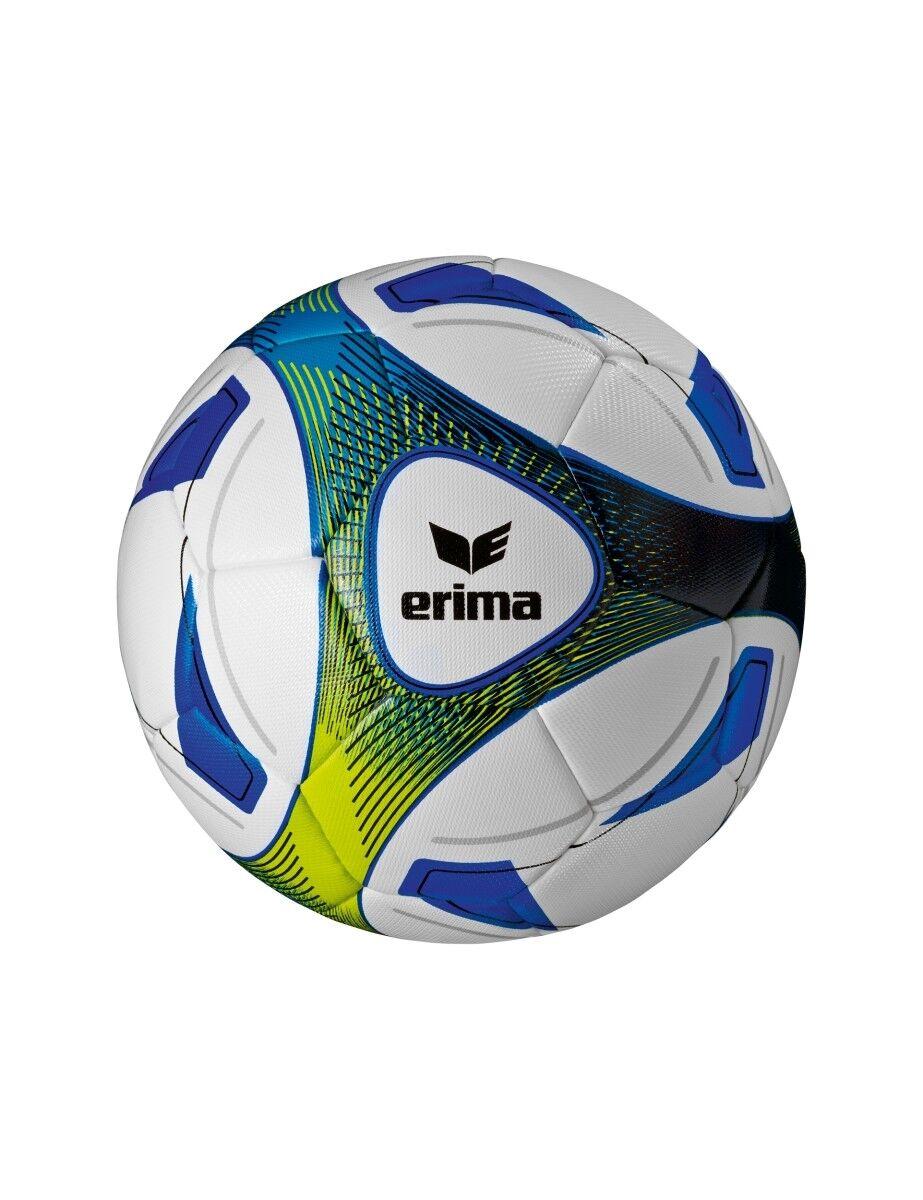5x erima Hybrid Training royal/lime Größe 5 + 1x Ballnetz Ballpaket TOP PREIS