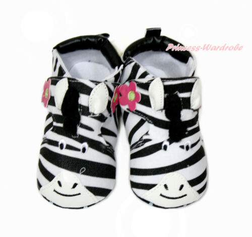 Infant Newborn Baby Hot Pink Flower Animal Zebra Face Crib Shoes NB-18Months