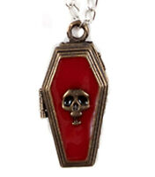Coffin Poison Pendant Locket Necklace Steampunk Skull Halloween Costume Jewelry