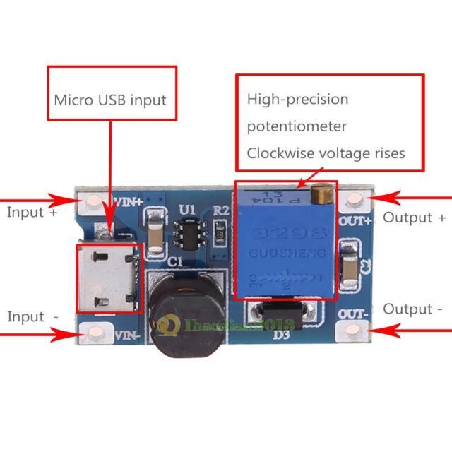 5Pcs DC-DC 2A Adjustable Boost Power Supply Converter Step Up Module 2-24v Input
