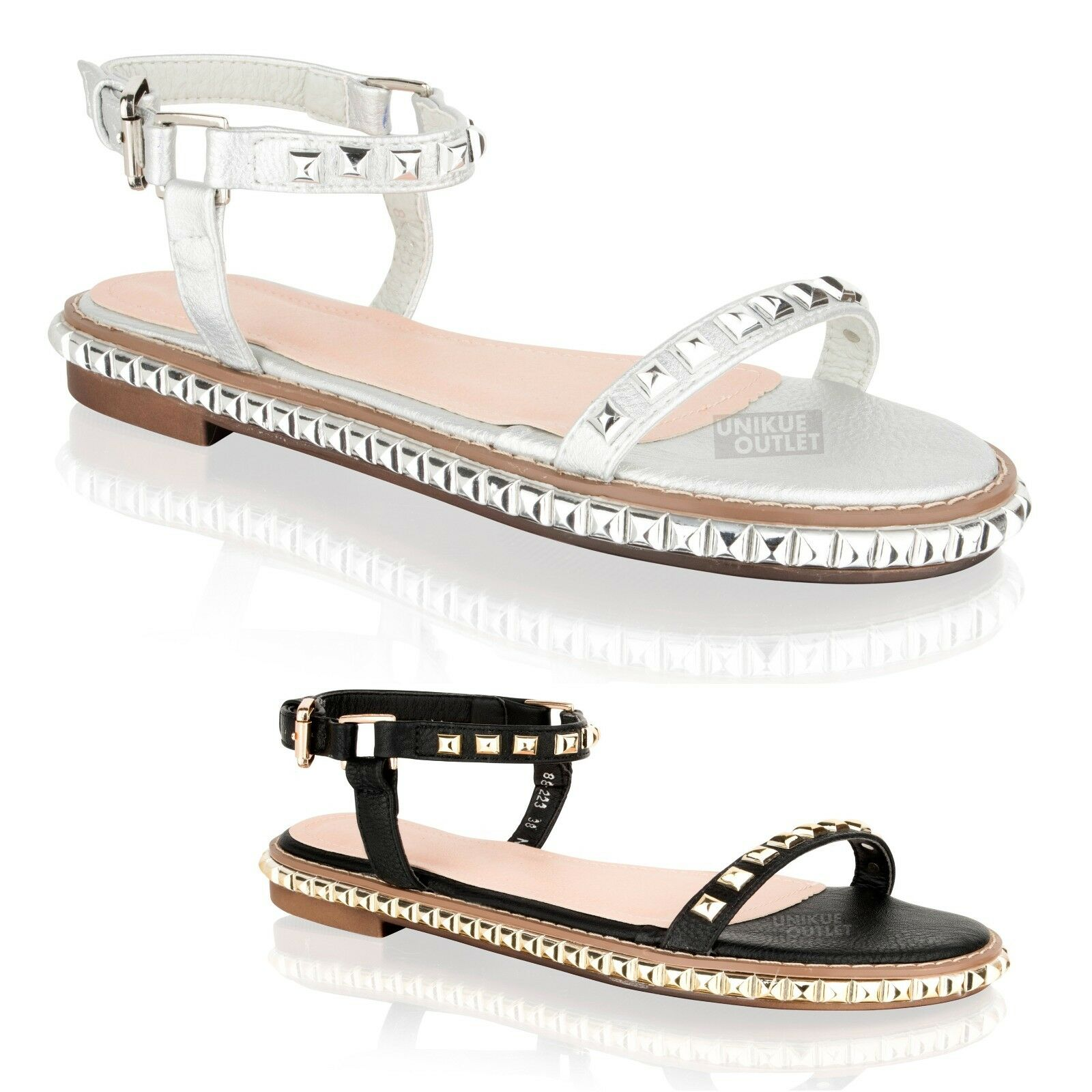 Womens Ladies Flat Studded Strappy Sandals Ankle Strap Holiday Summer Sandals Strappy Shoes Size c1c8cb