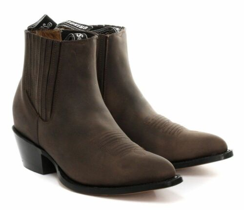 Men/'s Leather Grinders Maverick Brown Cowboy Western Slip On Pointed Ankle Boots