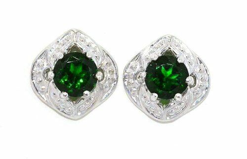 4mm Emerald Round Shape Stud Earrings White Gold Silver