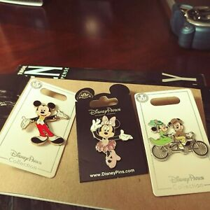 Disney-Parks-Adorable-Lot-3-Disney-Pins-Mickey-amp-Minnie-New-on-Cards