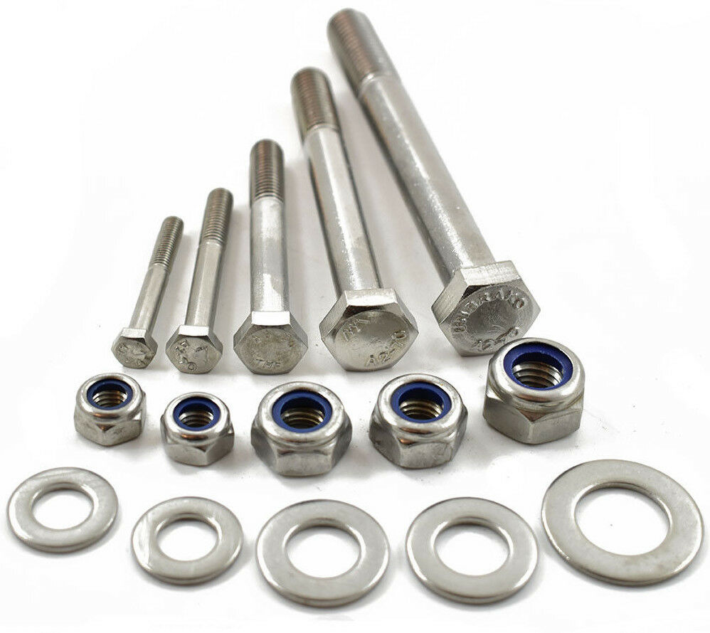 M8 A2 STAINLESS PART THREADED BOLT SCREW + NYLOC NUT & WASHERS HEXAGON HEX HEAD