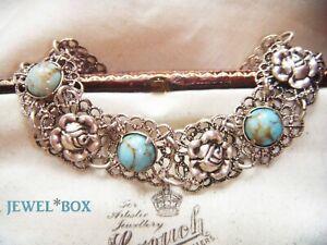 Earlier-Vintage-CZECH-FILIGREE-F-Turquoise-Hubbell-Glass-ROSES-ART-DECO-Bracelet