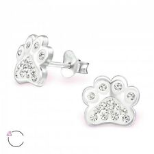 Sterling Silver 925 Dog / Cat Paw Sparkly Crystal Stud Earrings - White & Clear
