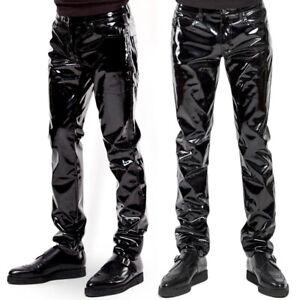 Homme Simili Cuir Long Pantalon Slim Fit Look Mouillé Brillant Clubwear Bottoms