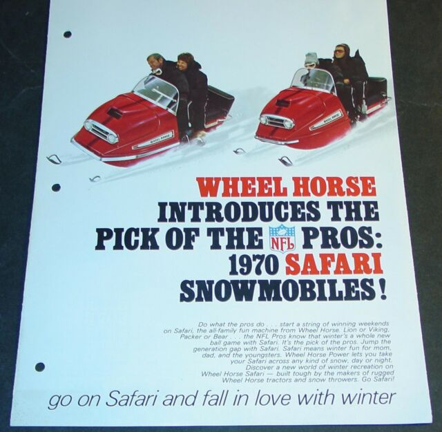 RARE 1970 WHEEL HORSE SAFARI SNOWMOBILE SALES BROCHURE 6 PAGES NICE   (650