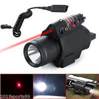 Tactical Led Flashlight & Red Laser Sight For Pistol Glock + Cord Remote Switch