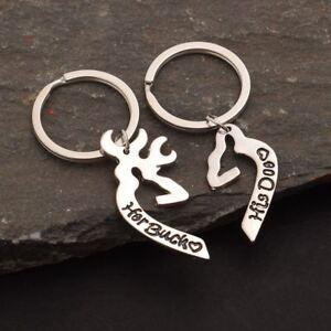 2 Pcs Her Buck His Doe Joining Together Love Key Ring Elk Shape