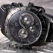 Ganges Shark Black Quartz Chronograph Nylon Sport Men's Military Wrist Watch
