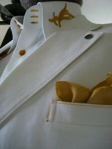 White Gold Embroidered High Collar Shirt
