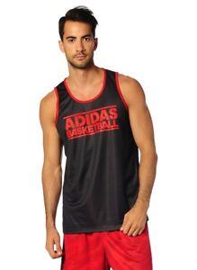 adidas-Men-039-s-GFX-Reversible-Basketball-Jersey-Tank-Vest-Sleeveless-Red-amp-Black