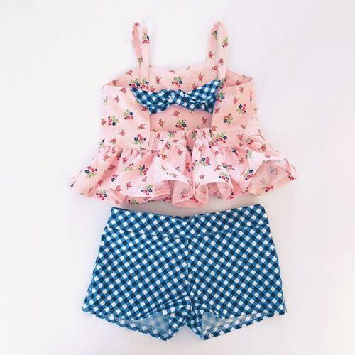 Outfits Sunsuit Clothes Set Summer 2PCS Toddler Baby Kids Girl Crop Top Dress