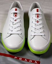 PRADA SPORT SHOES WHITE NEON YELLOW WRAPPED LOW PROFILE CAPTOE TRAINER 11 44 NEW