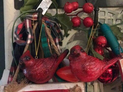 2 Cracker Barrel Red Cardinal Glittering Ornaments Christmas Woodland Winter NIB