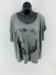 Disney Women's Top Blouse Loose Fit Tunic Short Sleeve Scoop Neck Gray Size XL