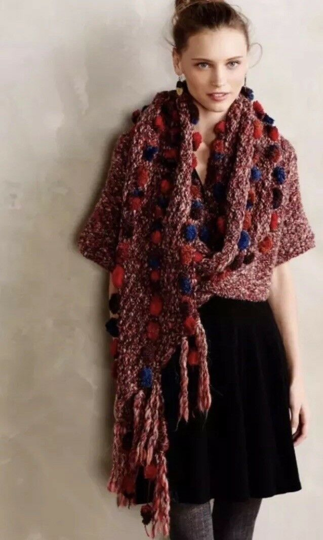 NWT  Anthropologie Handknit Pom Wrap  M L   By Dollie
