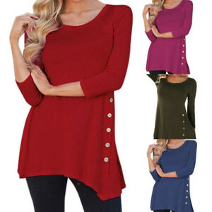 Women-039-s-Long-Sleeve-Blouse-Ladies-Tops-Casual-Button-T-Shirt-Tunic-Shirt-Jumper
