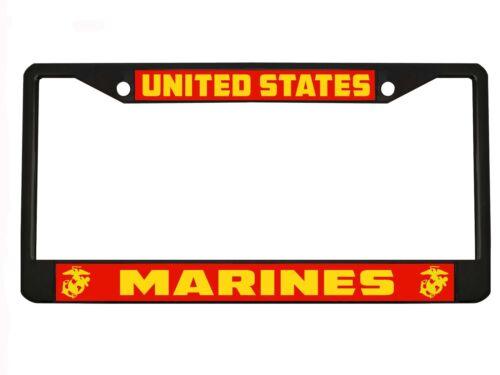 United States Marines Metal Auto License Plate Frame Car Tag Holder Black//Chrome