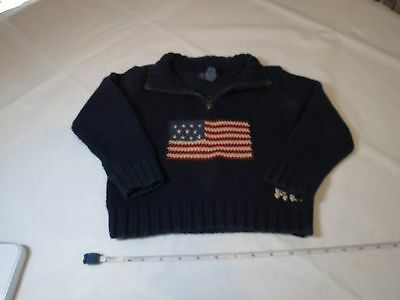 Polo Ralph Lauren toddler sweater zip 3T 3 American Flag RL Boy's navy GUC