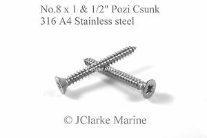 """Stainless self tapping screws csk 100 x No.8 x 1.1//2/"""""""