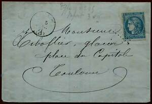 LETTRE-ANCIENNE-1871-CRANZAC-MINES-AUZITS-TIMBRE-CERES-TYPE-II-REPORT-III-CACHET