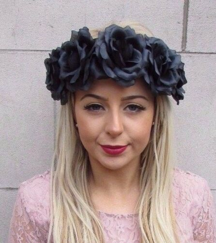 Large Black Rose Flower Garland Headband Hair Crown Sugar Skull Boho Big 4506
