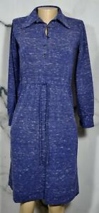 SAINT LAURENT RIVE GAUCHE Vintage Heathered Blue Wool Angora Blend Dress 34 US 4