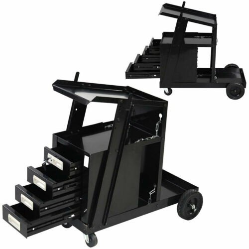 4 Drawers Portable Wheels Steel Welding Cart Black NEW974