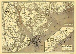 Savannah South Carolina Map.Old City Map Beaufort Savannah Charleston South Carolina 1863
