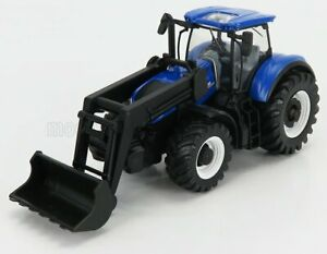 BURAGO 1/50 NEW HOLLAND | T7.315 TRACTOR WITH FRONT LOADER SCRAPER 2018 | BLUE