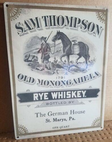 Sam Thompson Rye whiskey vintage label ad reproduction steel sign bar decor