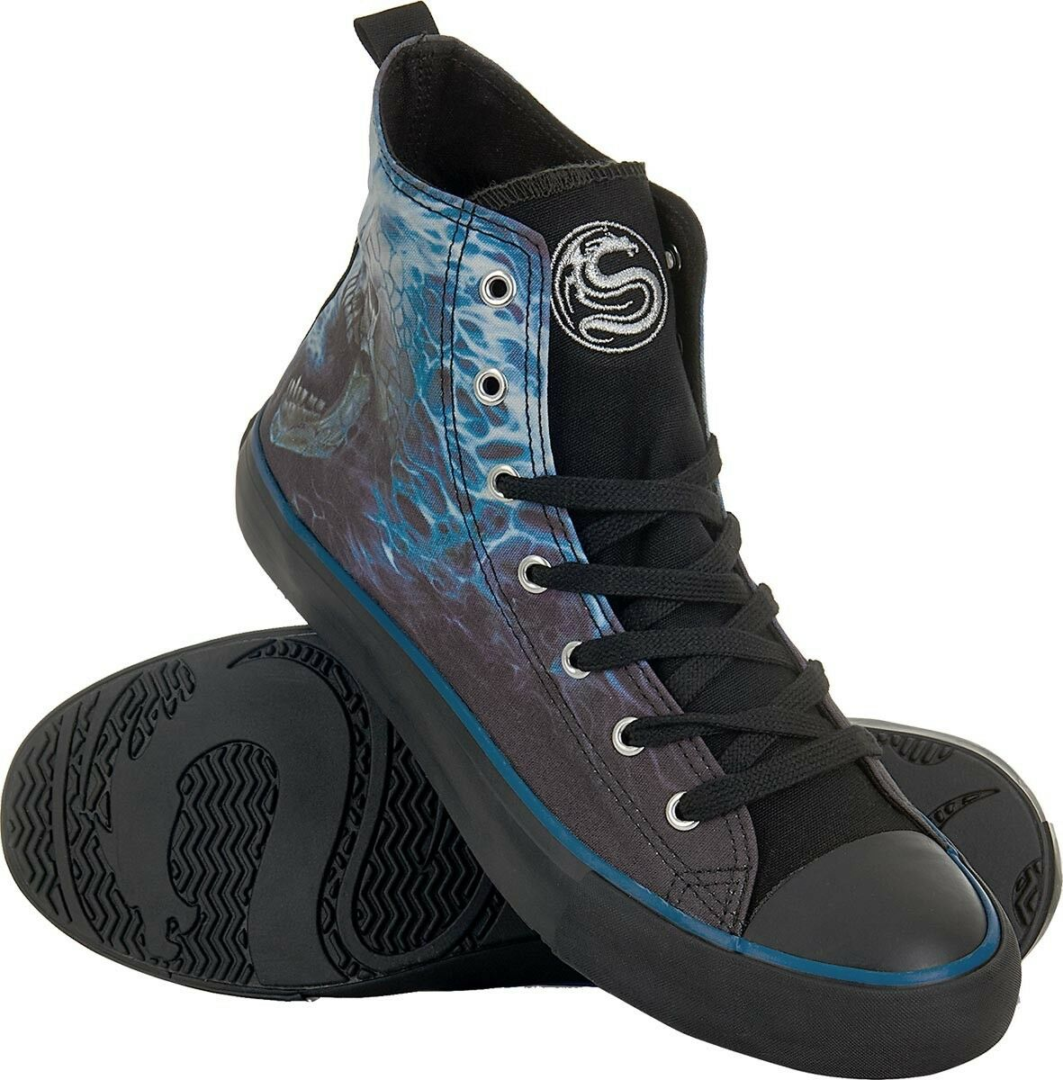 Spiral Flaming Spine Sneaker Schuh Tattoo Biker Reaper Gothic #8100