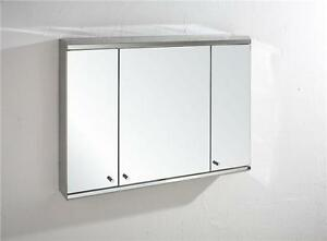 Details About Large Bathroom Cabinet Mirror Biscay 80cm X 55cm Three Door Wall Storage
