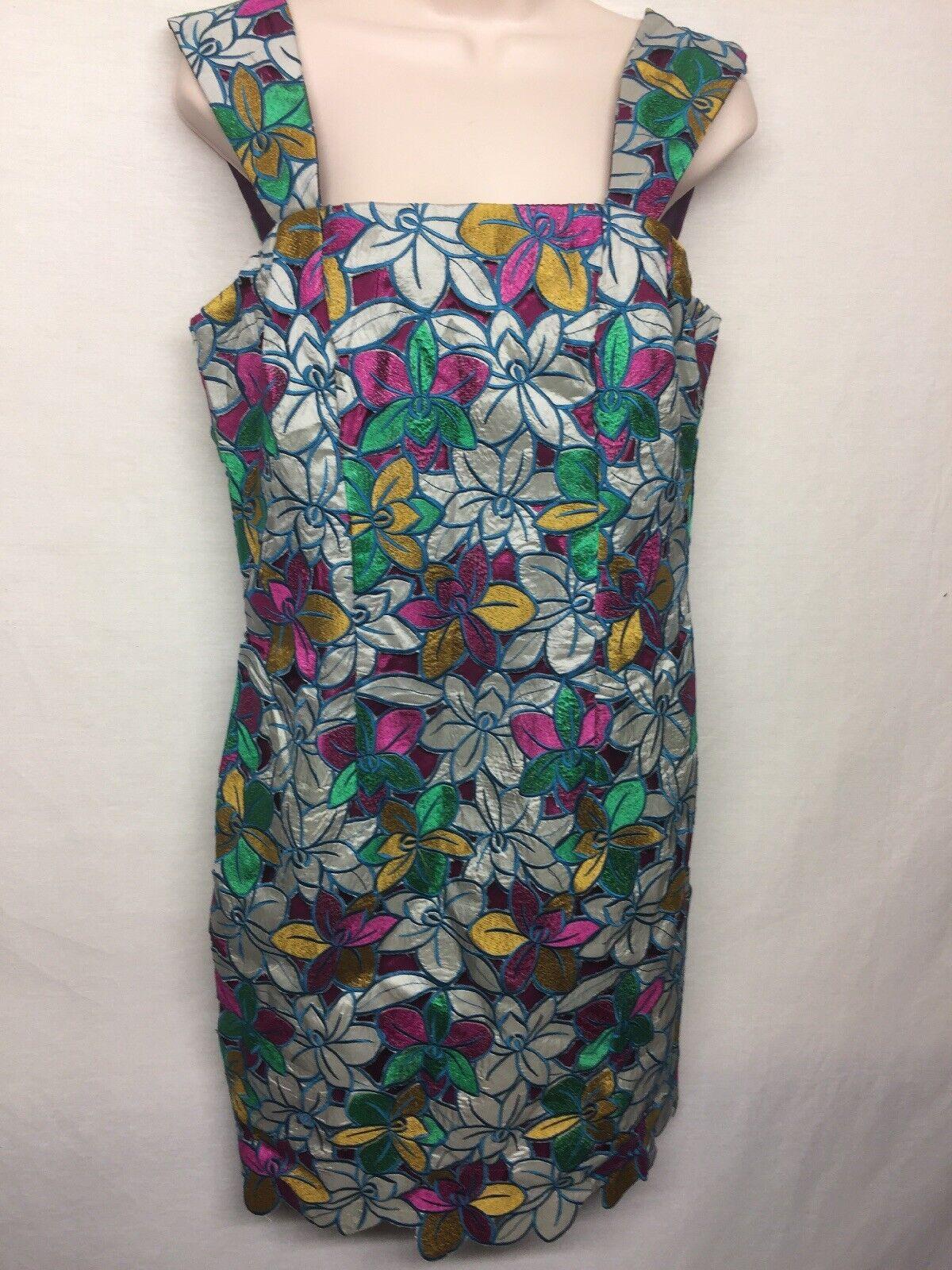 damen's Floral Multi Farbe Embroiderot Square Neck Sleeveless Mini Dress     Q12