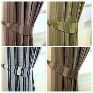 Image Is Loading Jacquard Curtains Tie Backs Pair Modern Striped Design