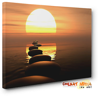 Zen Stones Reflective Sunset Ocean Canvas Print Brown Wall Art  Highest Quality