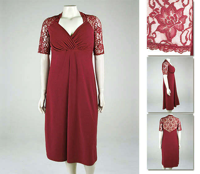 NEW Zaftique DIVINE LACE Dress GARNET Red 0Z 1Z 2Z 5Z   14 16 20 L XL 1X 2X 5X