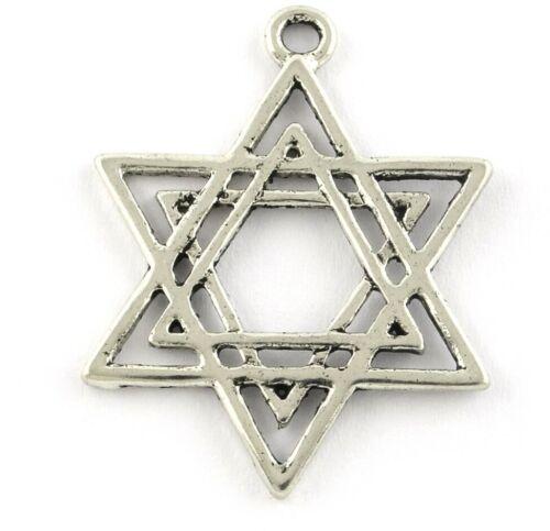 3 étoile de David argent antique Charms Pendentifs Bracelets hp30
