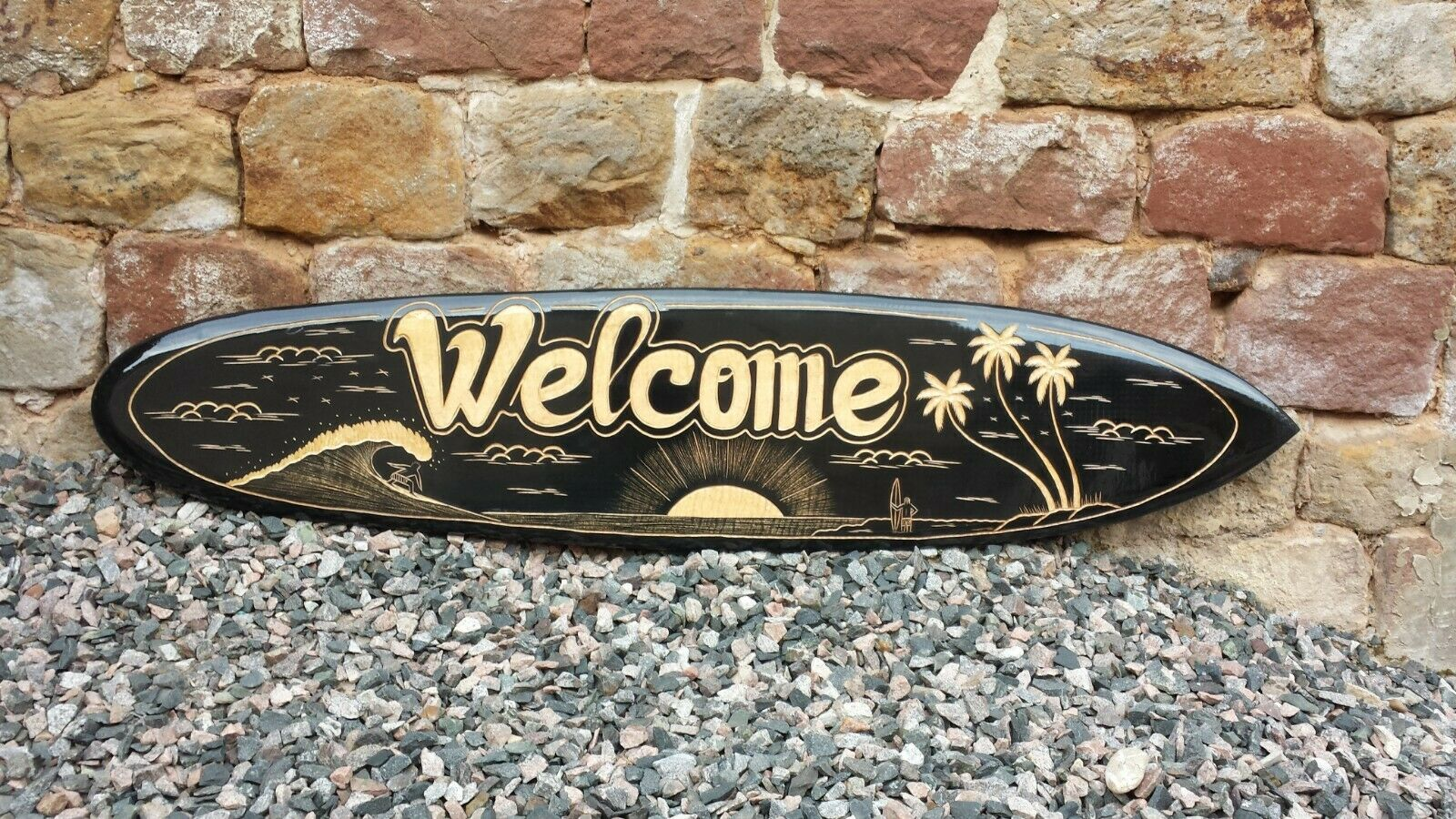 NEW SOLID WOOD MODEL DECORATIVE 100cm HAND CARVED WELCOME SURFBOARD   su100CWE2