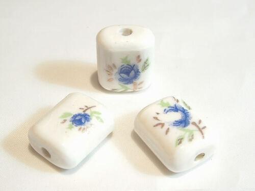 Porcelain105 10 pcs x Flat Cylinder Floral Porcelain Beads