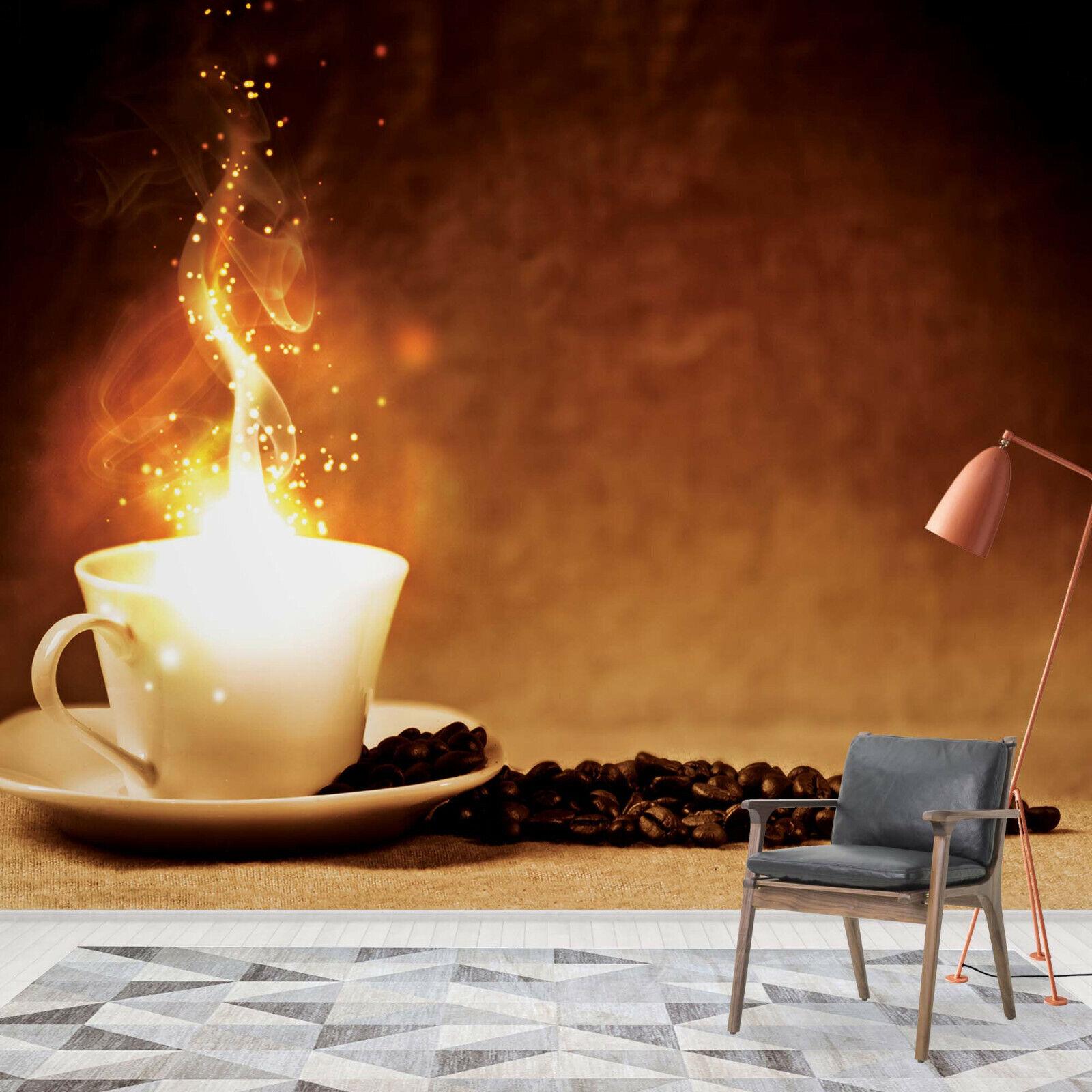 Tapete Fototapete für Küche Esszimmer Kaffeebohnen Bohnenkaffee Coffee Cafe Fire