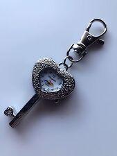 Kids Girl Lady Silver Heart Key Ring Keyrings Holder Pocket Watch Gift for her